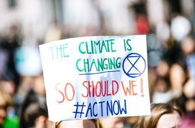 Person holding climate change banner at protest.